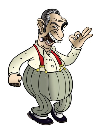 jefe de la mafia de dibujos animados gestos ok y el hábito de fumar cigarros mientras da una mirada surly Ilustración de vector