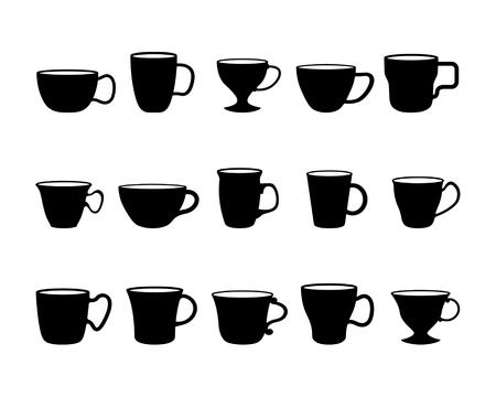 coffee cup vector: fifteen different cups black and white silhouettes