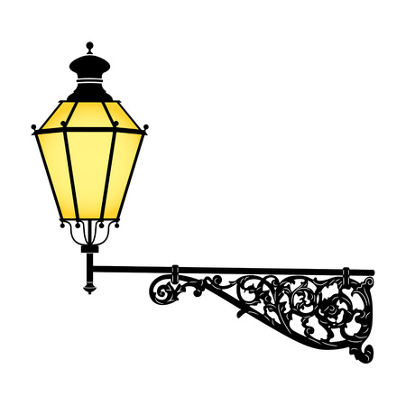 old fashioned: Italian forged iron elegant street lamp Illustration