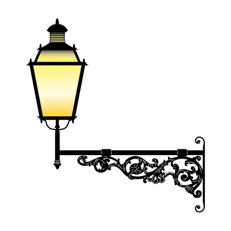 lamp silhouette: Italian forged iron elegant street lamp Illustration