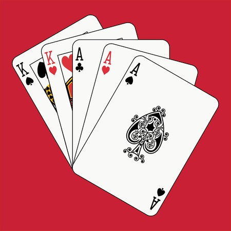 Full house aces kings on red Stock Vector - 4141715