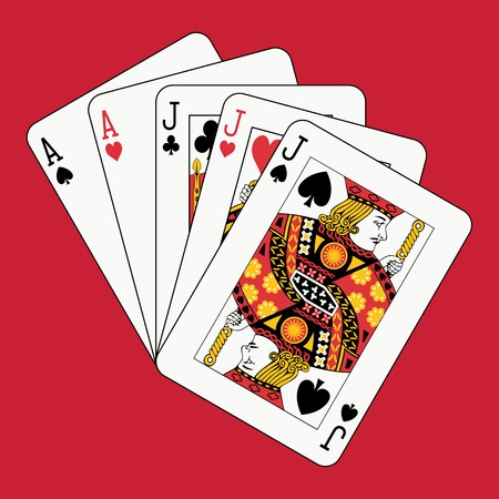 Full house jacks aces on red Stock Vector - 4141718