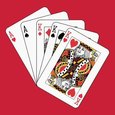 Full house kings aces on red Vector