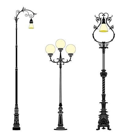Italian forged iron elegant street lamps Stock Vector - 4141711