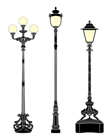 Italian forged iron elegant street lamps Stock Vector - 4232861