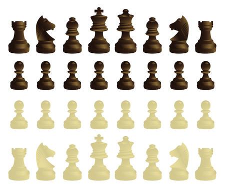 Chessmen gekleurde complete set