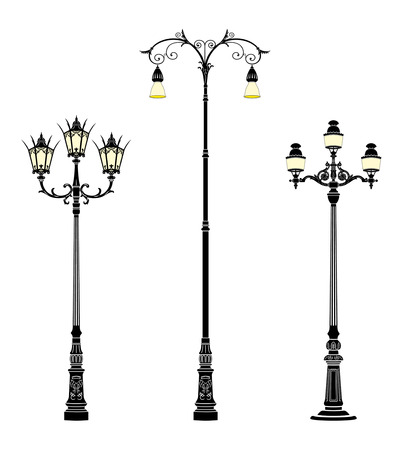 lamp vector: italian forged iron elegant street lamps