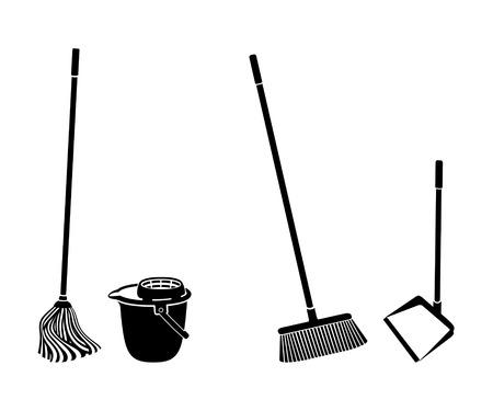 Vloer reinigen voorwerpen zwart-wit silhouetten