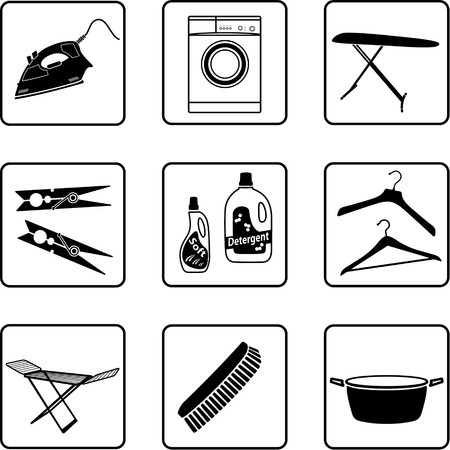 coat hanger: Laundry objects black and white silhouettes Illustration