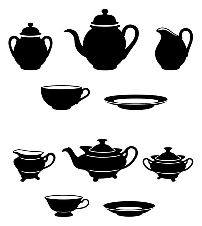 teatime: Two different tea sets black and white silhouettes Illustration