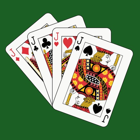 jacks: jacks poker on green background Illustration