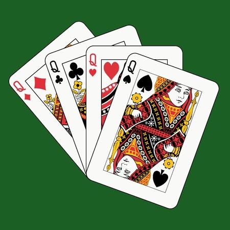 queens poker on green background Stock Vector - 4295207