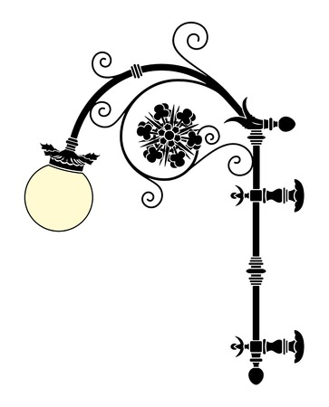 italian forged iron elegant street lamp Stock Vector - 4295201