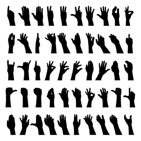 four hands: fifty hands gesturig silhouettes