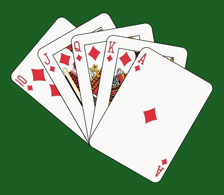 royal flush diamond on green Vector