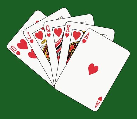 royal flush: royal flush heart on green