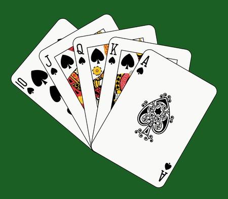 flush: royal flush spade on green