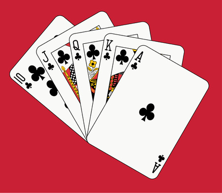 royal flush club on red backgriund Vector