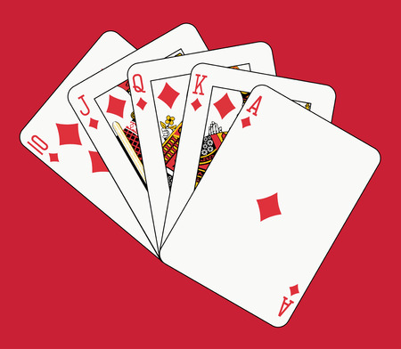 royal flush diamond on red backgriund Vector