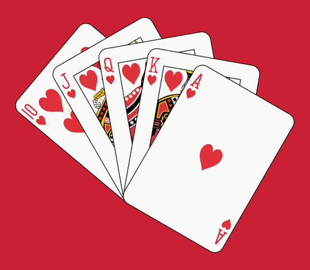 king and queen of hearts: royal flush heart on red backgriund