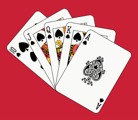 royal flush spade on red backgriund Illustration