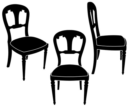 the same chair in three different sights Vector