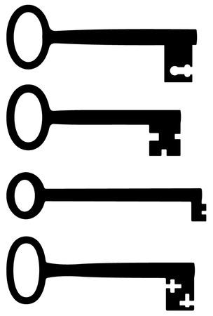silhouttes: Big old keys black silhouttes