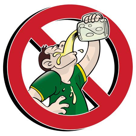 alcoolisme: Pas de signe d'interdiction de boire Illustration