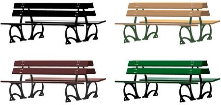 banco parque: Italiano silueta banco de un parque y tres disposiciones diferentes de color Vectores