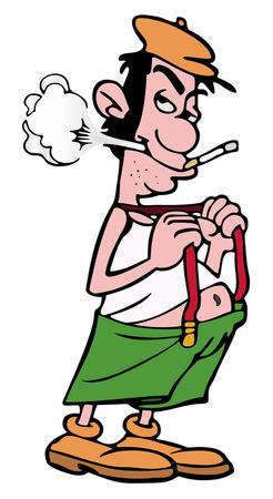 Slovenly hombre mal vestido, mientras que fumar cigarrillos