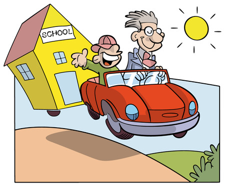 Study holidays: student and teacher on a car towing a school in a country summer day Vector