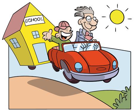 autoscuola: Vacanze studio: studenti e insegnanti su una macchina che rimorchia una scuola in un paese in giorno d'estate