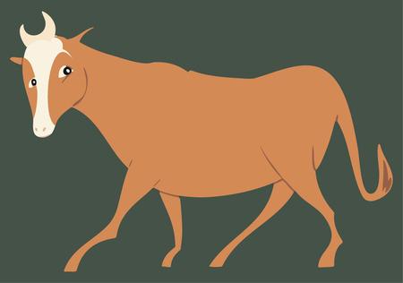 bullock: Head turned brown stylized steer