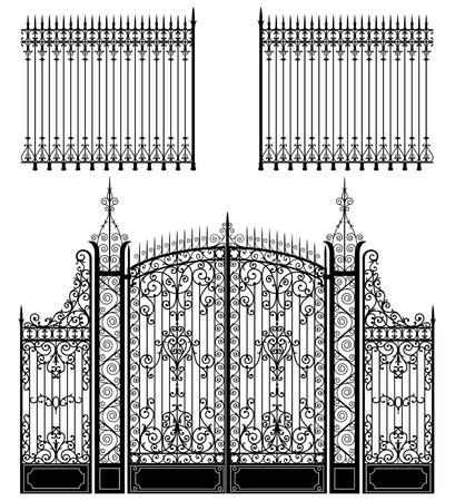 Puerta de hierro forjado y vallas llenas de decoraciones se arremolinaba Ilustración de vector
