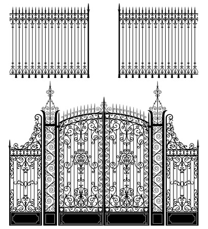 iron gate: Wrought iron gate and fences full of swirled decorations Illustration
