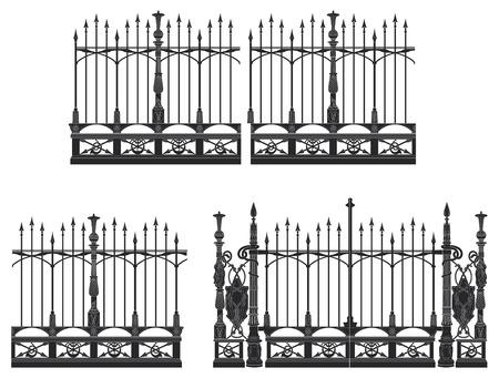 Schmiedeeisernes Tor und modulare Zäune