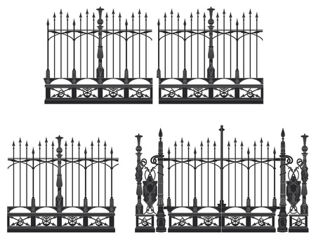 iron gate: Wrought iron gate and modular fences