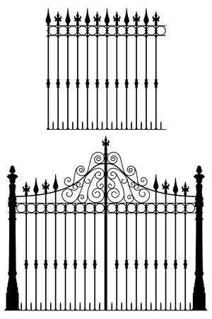Smeedijzeren hek en modulaire hekken