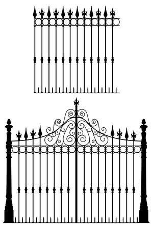Wrought iron gate and modular fences
