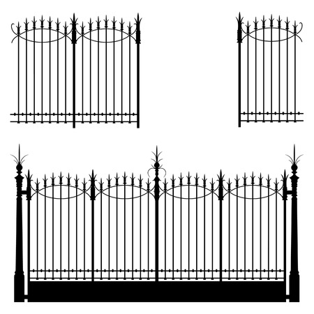 Wrought iron gate and modular fences Vector