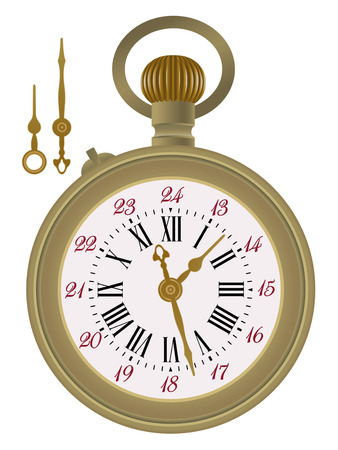 Old pocket watch detailed illustration. Hands in a separate level in vector file, so you can easily edit any hour. Vectores