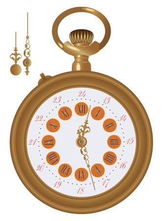 antiquary: Antiguo reloj de bolsillo ilustraci�n detallada. Las manos en un nivel aparte en el archivo de vectores, de esta manera puede editar cualquier hora.