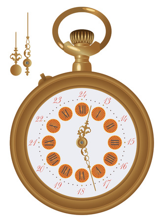 antiquary: Old pocket watch detailed illustration. Hands in a separate level in vector file, so you can easily edit any hour. Illustration