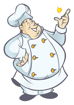 chef cartoon: Cartoon chef gordo con uniforme blanco chasqueando los dedos