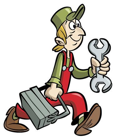 Handyman clé cartoon exploitation et de boîte à outils