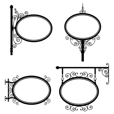 Black and white wrought iron oval signs set Vector