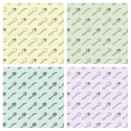 serviette: Cutlery seamless pattern in four different colour arrangements