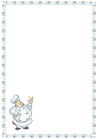 recipe card: Recipe card with chef cartoon in a table set border