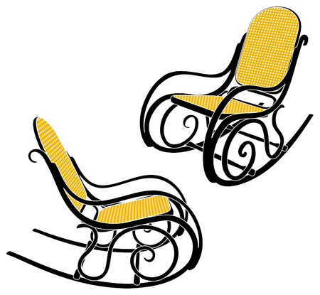 Rocking chair silhouette in two different sights Illustration
