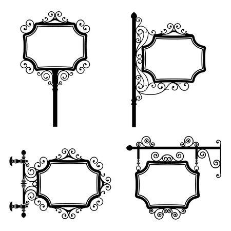 Black and white wrought iron vintage signs set